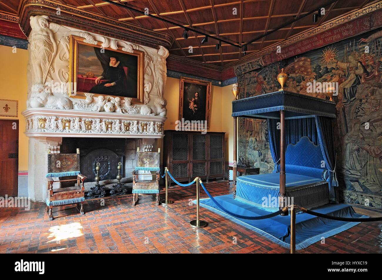 Interior of Chateau de Chenonceau France. This castle is located ...