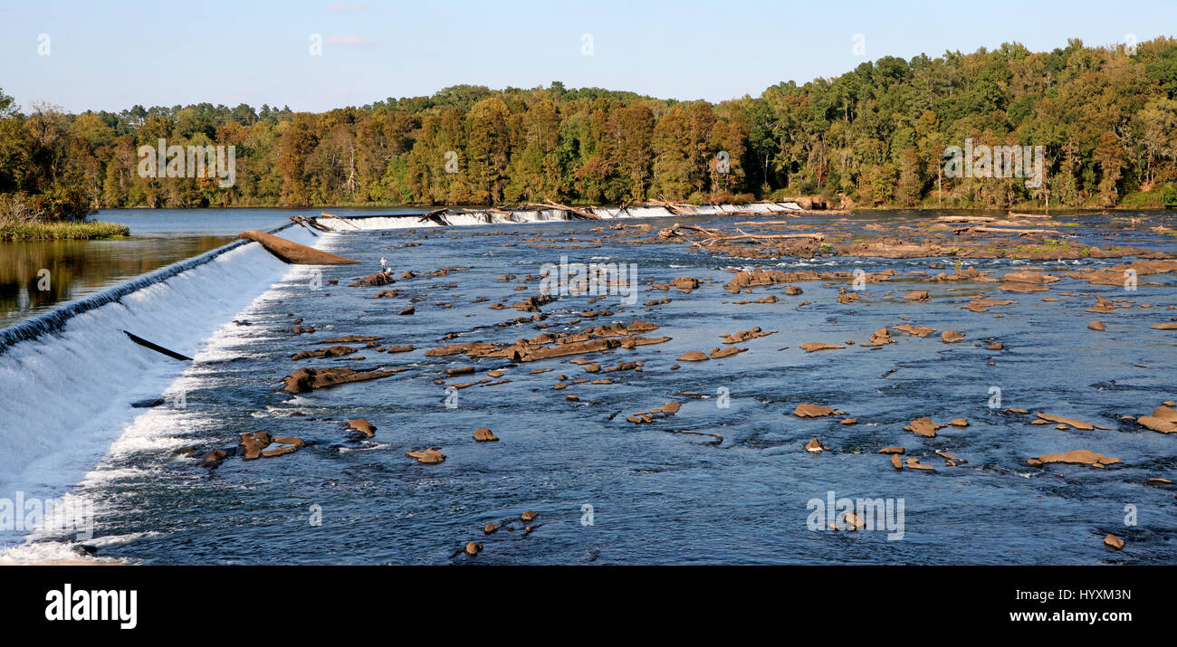 Scenes around Augusta, Georgia - Savannah River shoals - Stock Image