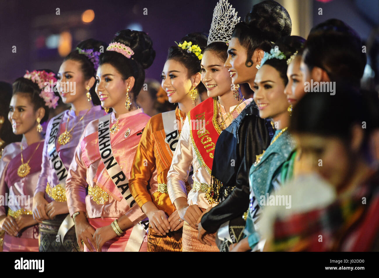 Bangkok, Thailand. 8th Apr, 2017. 'Misses Songkran' from various Thai provinces attend the Amazing Songkran - Stock Image