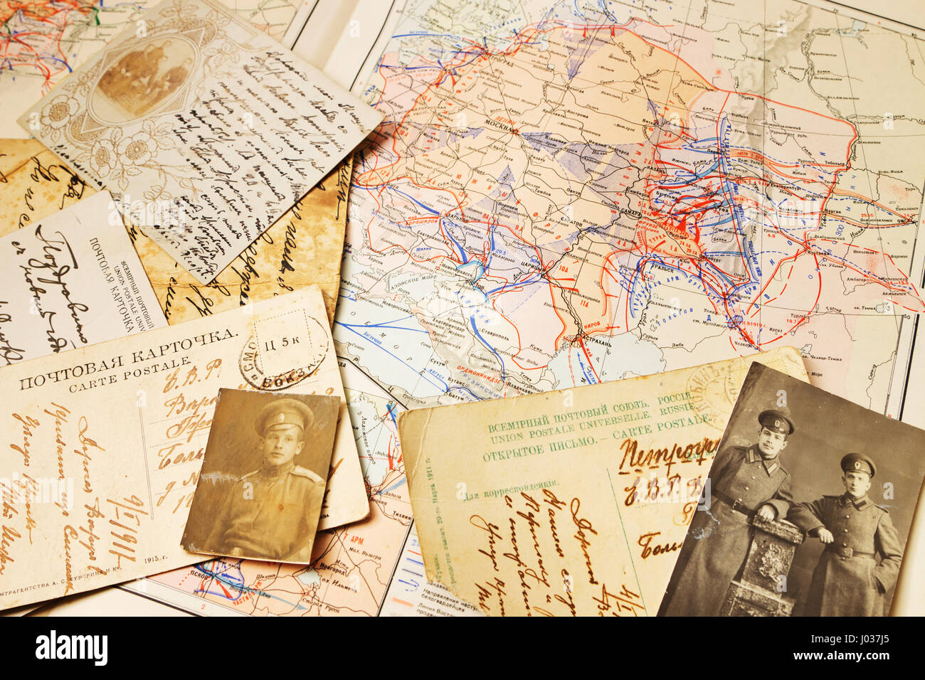 Postcards and the maps of battles of