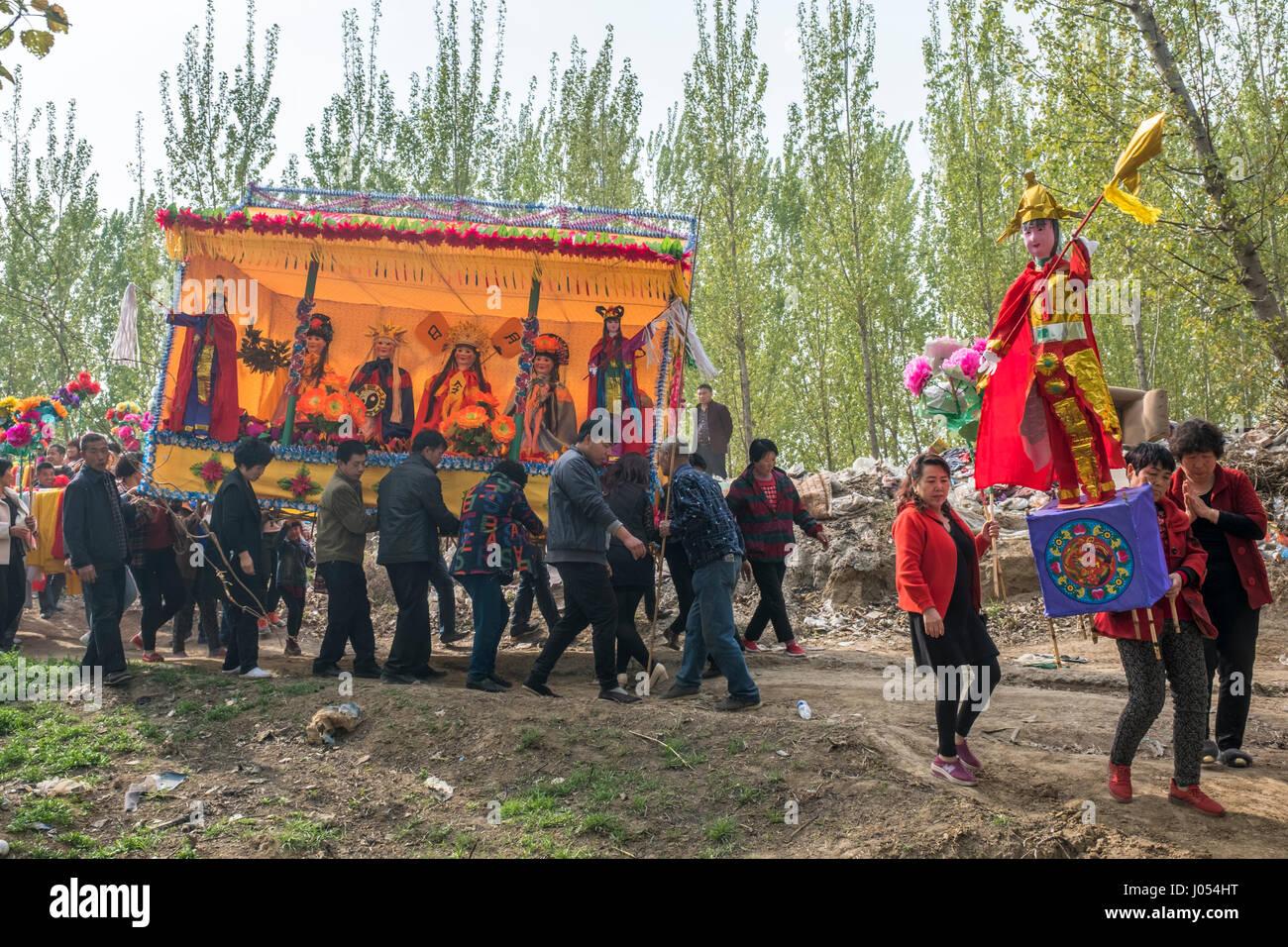 Local villagers attend an annual Taoism ceremony to celebrate the birthday of Bixia Yuanjun, known as the 'Lady - Stock Image