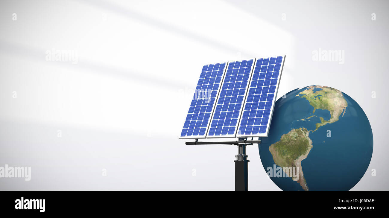 digitally generated image of 3d globe and solar panel against light