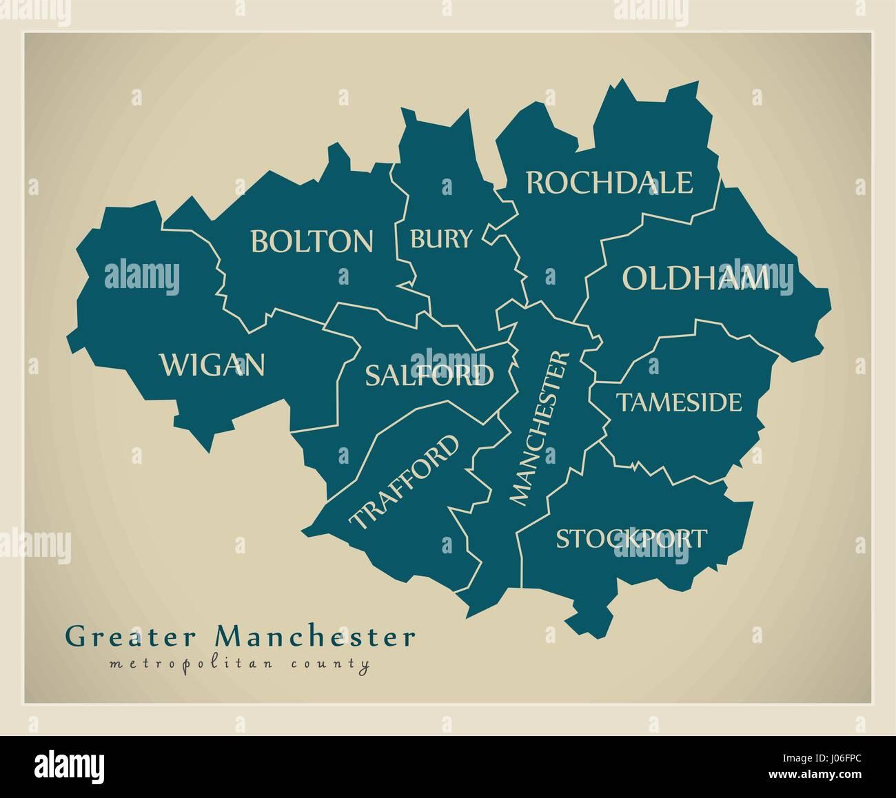 Modern Map Greater Manchester Metropolitan County Uk Stock Vector