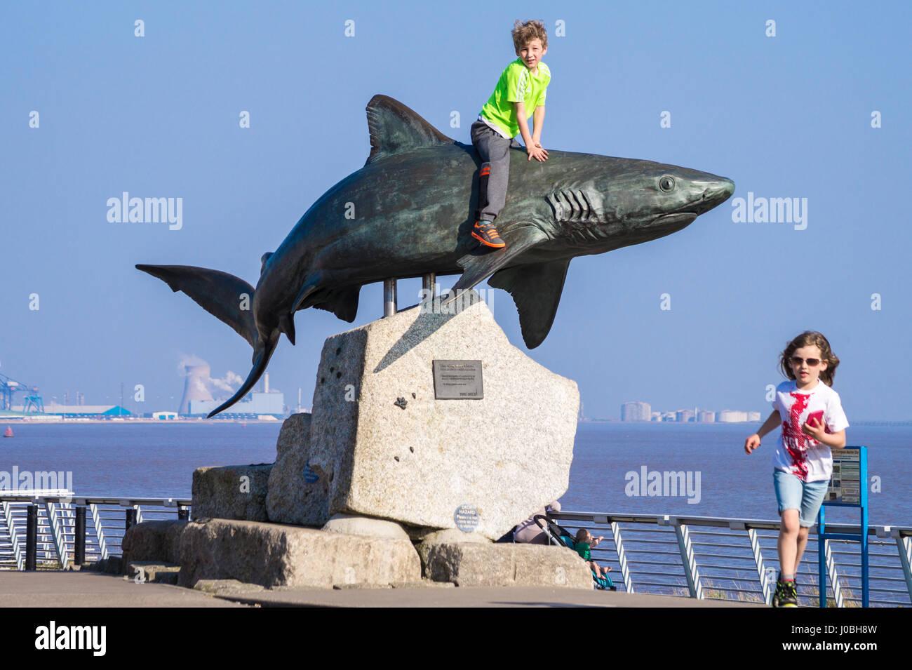 small-boy-sitting-on-shark-bronze-sculpture-of-grey-reef-shark-by-J0BH8W.jpg