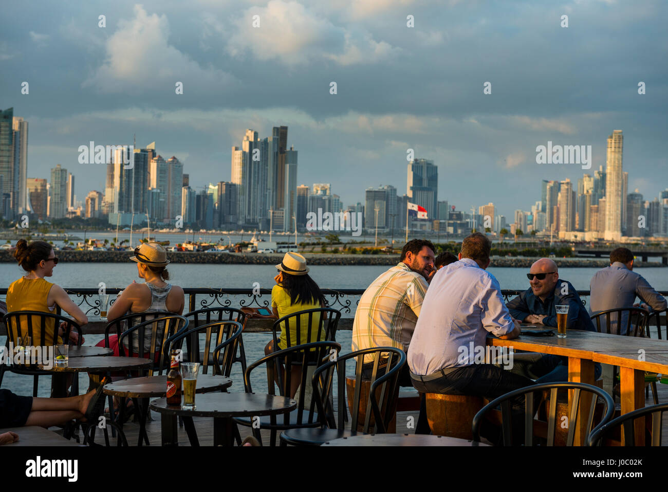 Bar in Casco Viejo overlooking the skyline of Panama City, Panama, Central America - Stock Image