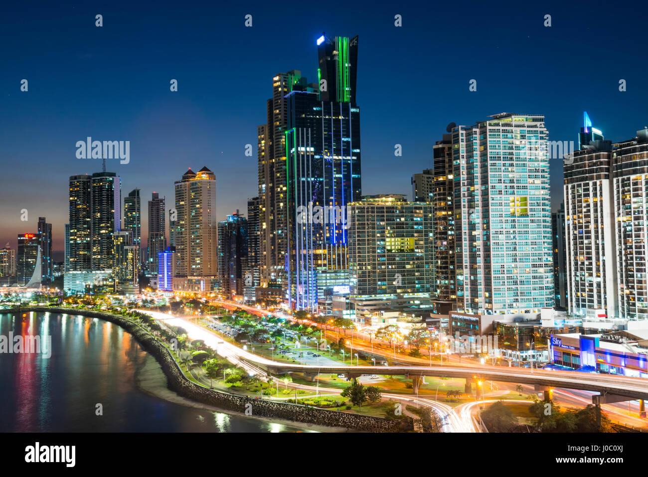 The skyline of Panama City at night, Panama City, Panama, Central America - Stock Image