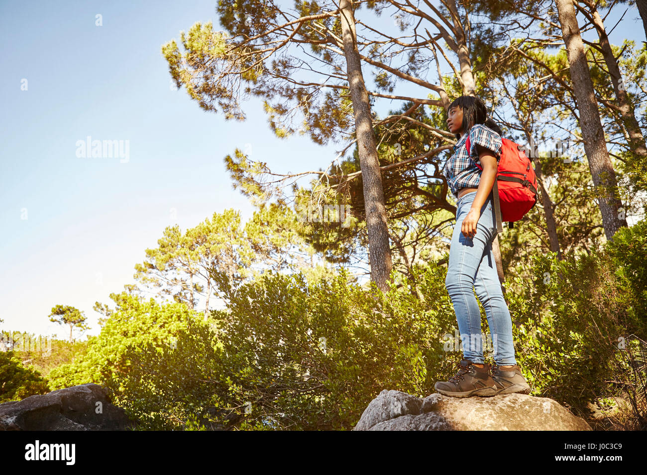 Young woman standing on rock, looking at view, Cape Town, South Africa - Stock Image