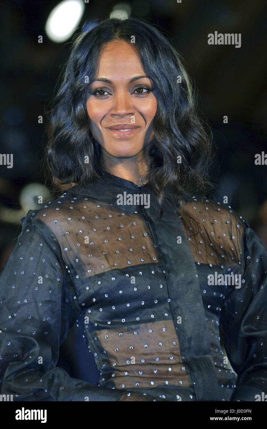 Tokyo, Japan. 10th Apr, 2017. Actress Zoe Saldana attends the Galaxy Carpet Event for 'Guardians of the Galaxy - Stock Image