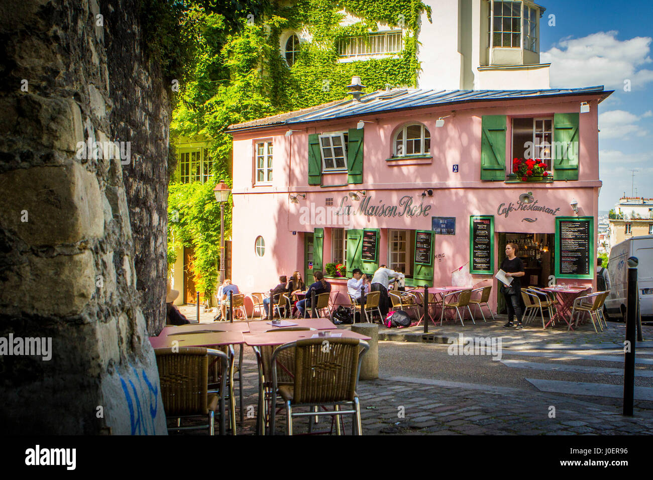 La maison rose cafe in the montmartre neighborhood of paris france