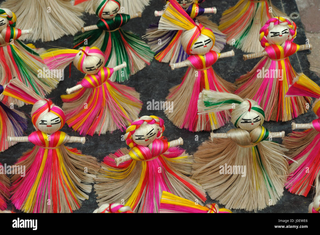 Jute Craft Dolls Kolkata West Bengal India Asia Stock Photo