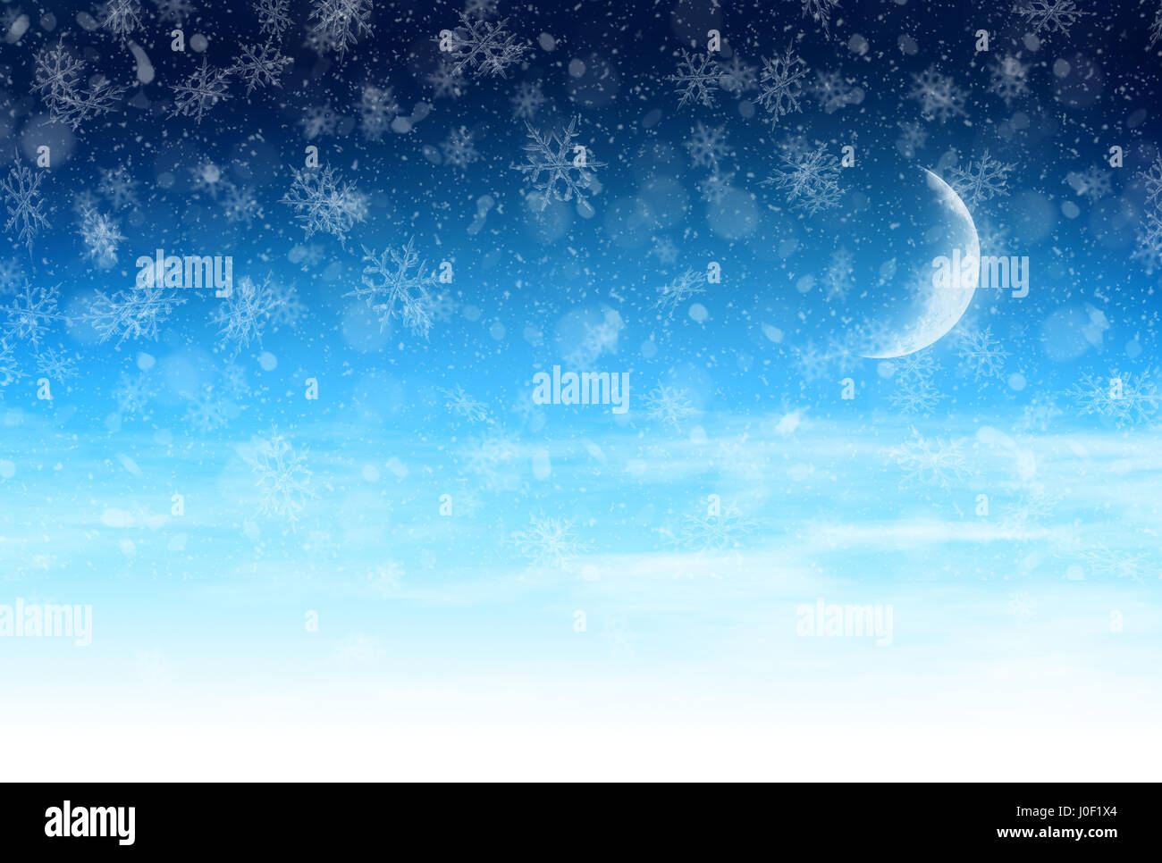 winter background with light snow and moon christmas banner stock