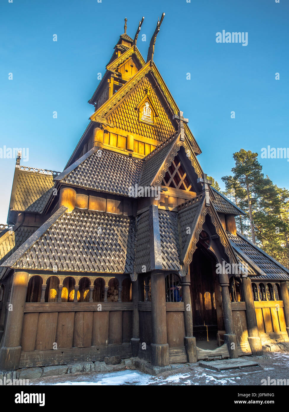 Bygdøy, Norway - February  23, 2016: The Stave Church from Gol in Oscar II's Collection. Haakon Harriss, - Stock Image