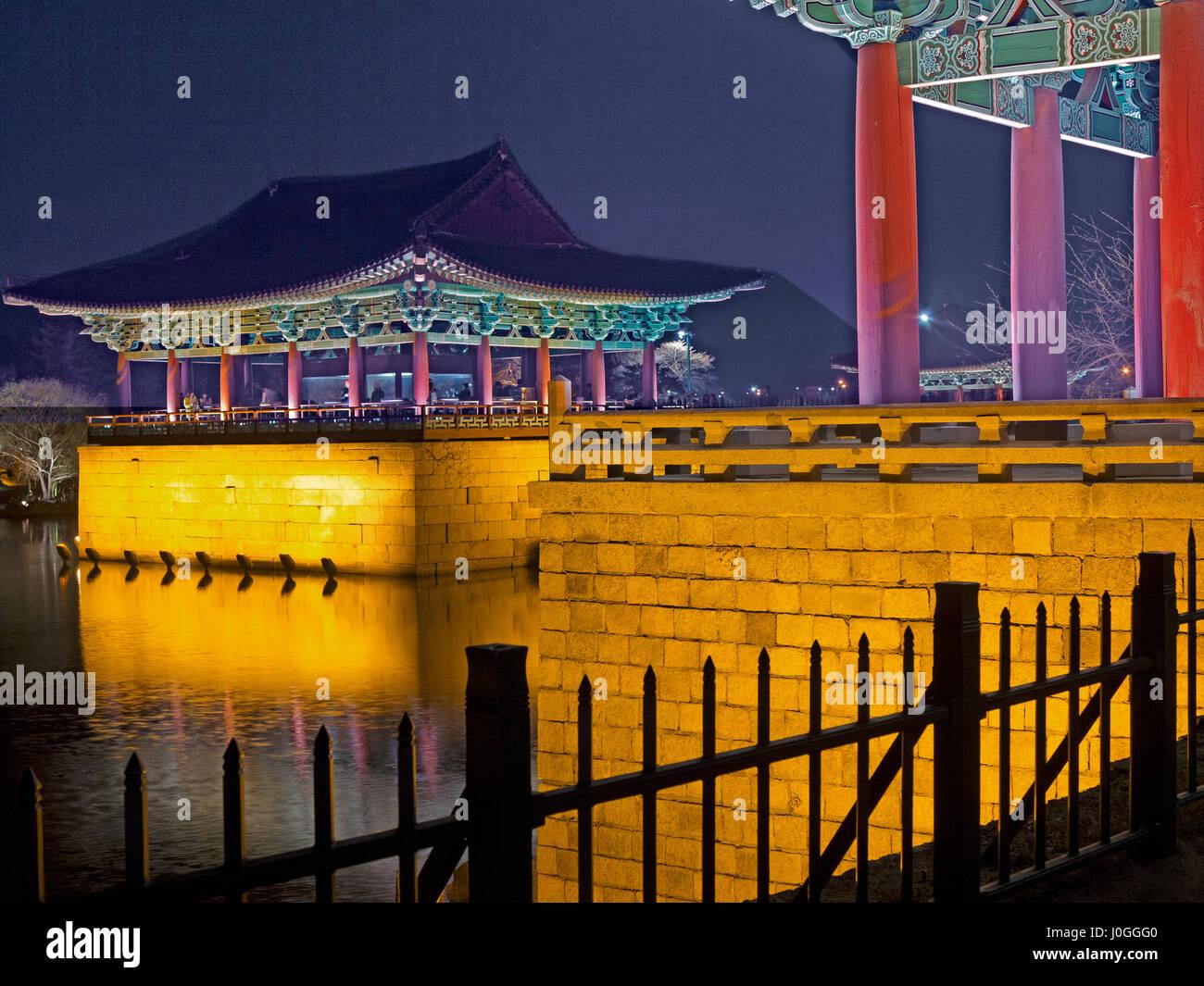 Scenic view of Gyeongju Anapji pond at dusk South Korea - Stock Image