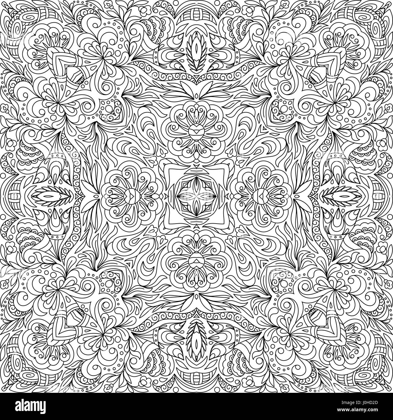 Square coloring book page for adults - floral authentic carpet Stock ...