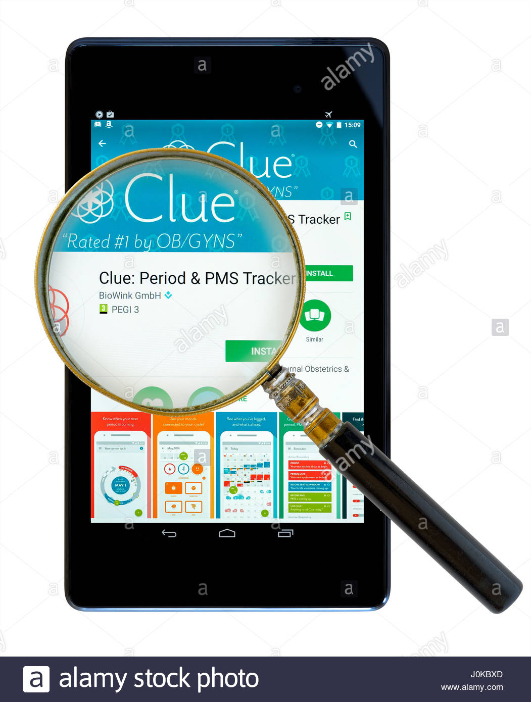 clue pms tracker app on an android tablet pc dorset england uk
