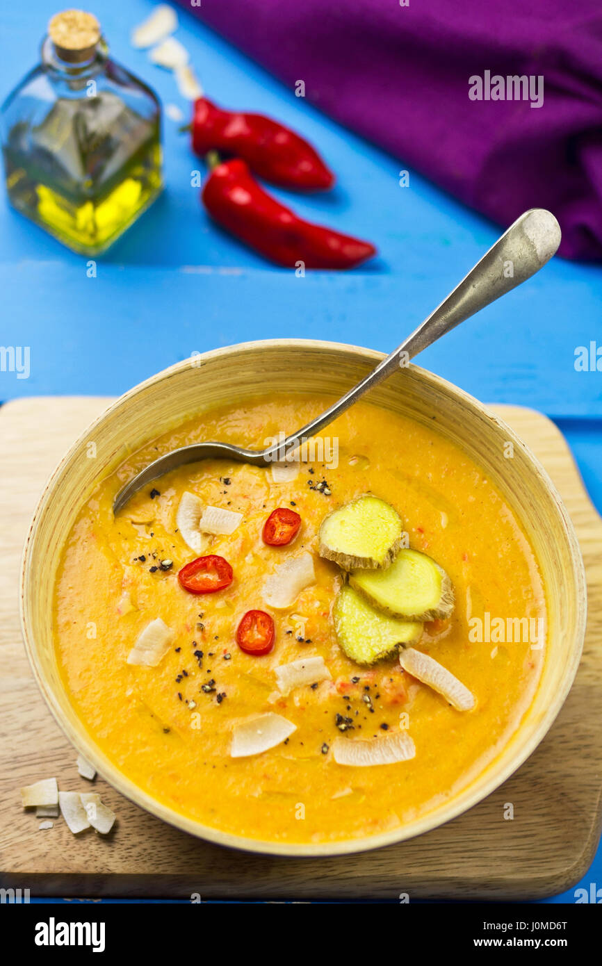 Thai red lentil, red pepper coconut cream soup - Stock Image