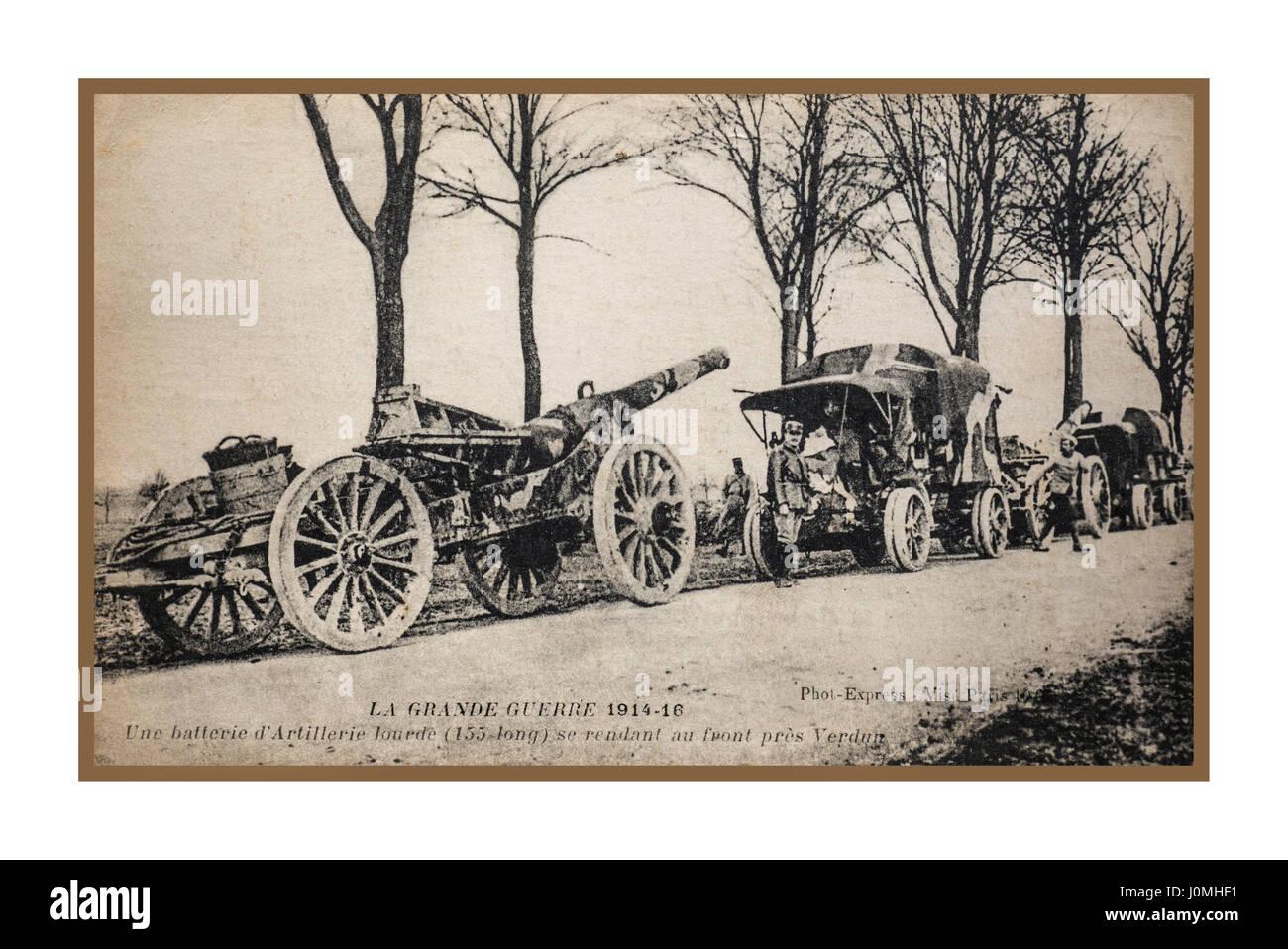 Verdun France supply line of guns and ammunition Poignant vintage historic WW1 1914 postcard, sent from the battle - Stock Image