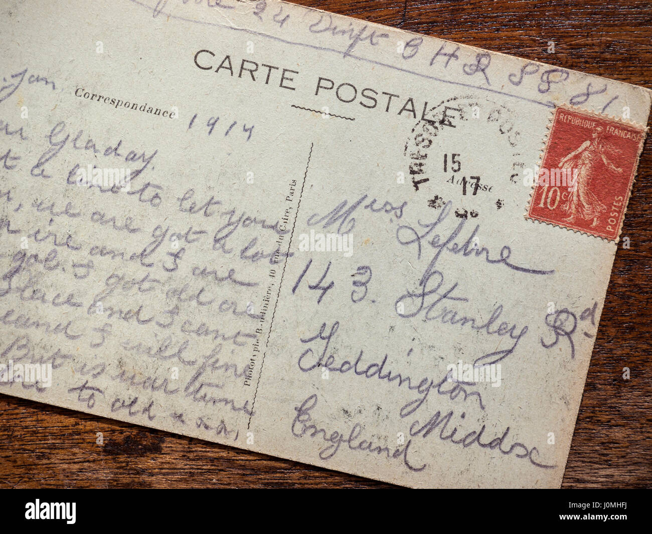 Poignant vintage historic WW1 1917 postcard, sent from the battle front in Verdun France, by a British soldier letting - Stock Image