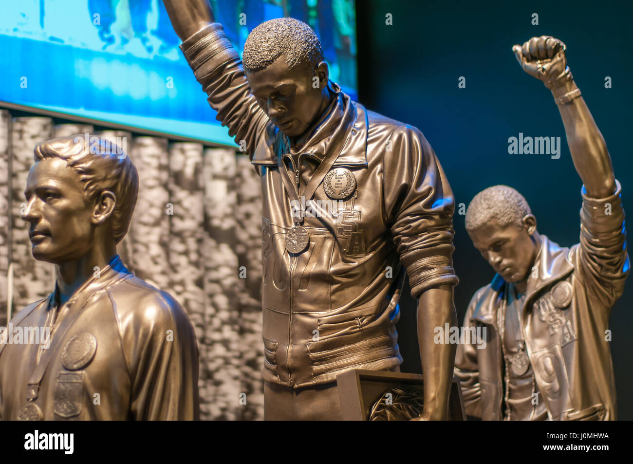 1968 Olympics Black Power salute statue Stock Photo