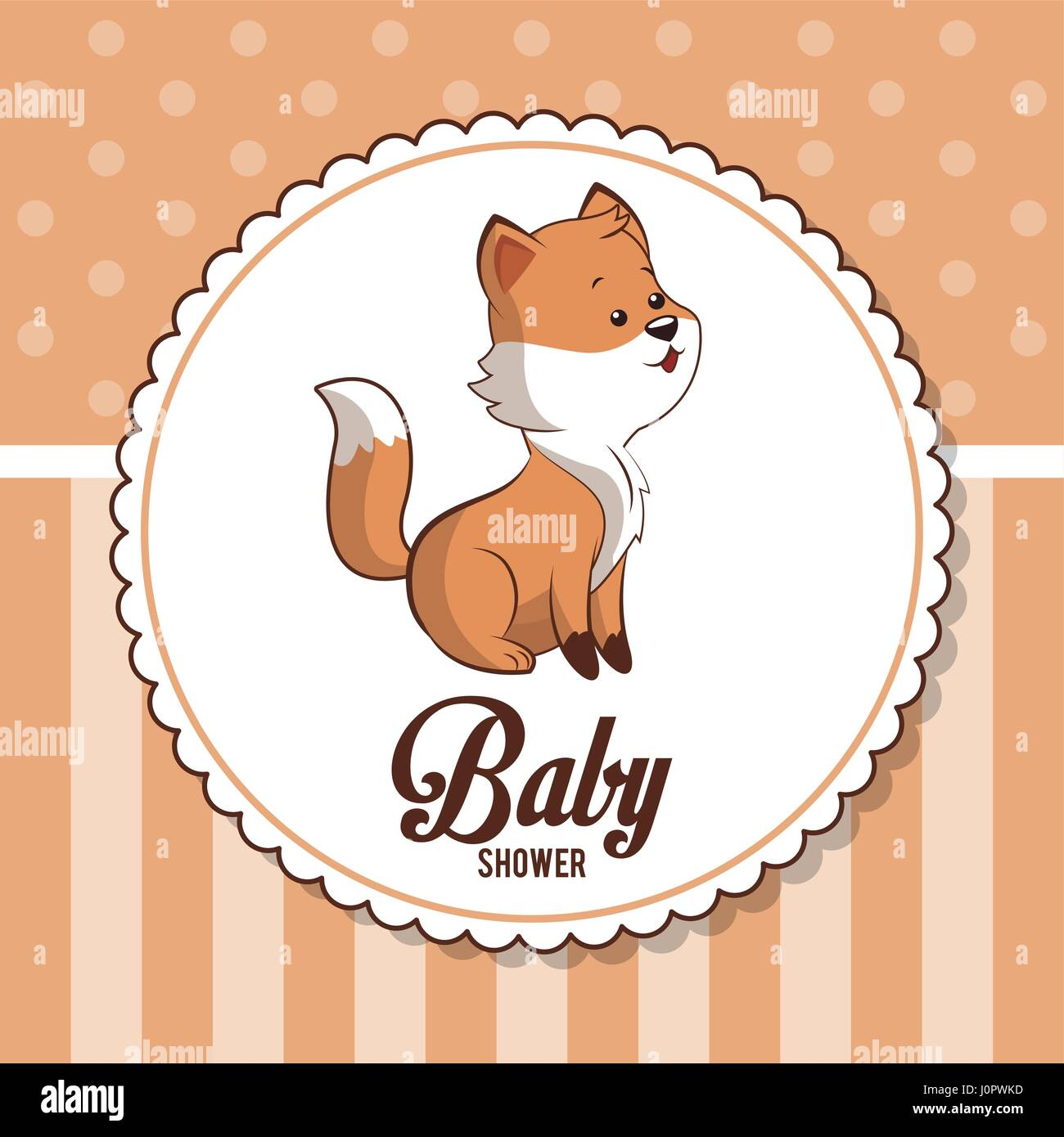 Baby Shower Card Invitation Greeting Cute Fox Stock Vector Art