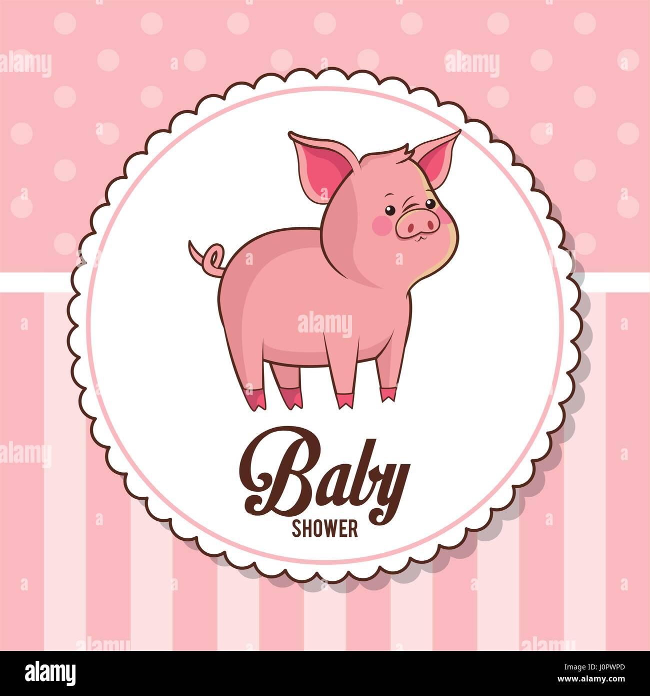 Baby Shower Card Invitation Cute Piggy Stock Vector Art