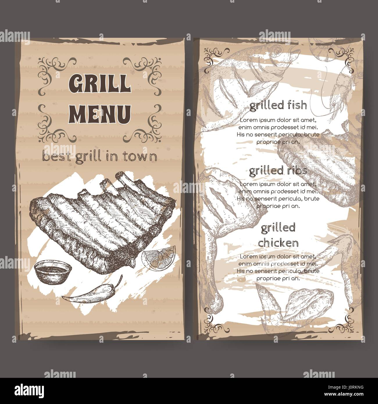 vintage grill restaurant menu template with hand drawn sketch stock