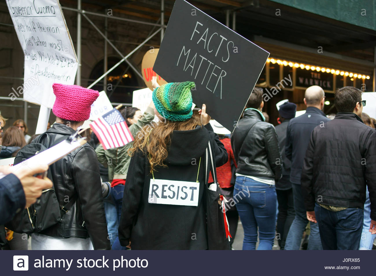 New York, USA.  15th April 2017.  Thousands of protesters at the Tax Day March in New York City demand Donald Trump - Stock Image