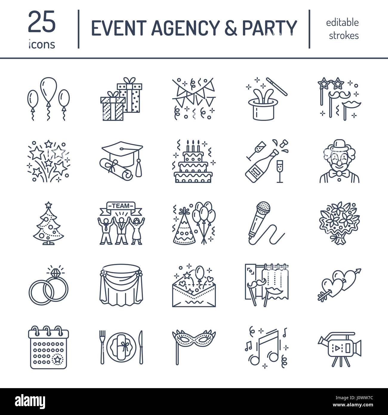 Event agency wedding organization vector line icon party service event agency wedding organization vector line icon party service catering birthday cake balloon decoration flower delivery invitation clown stopboris Image collections
