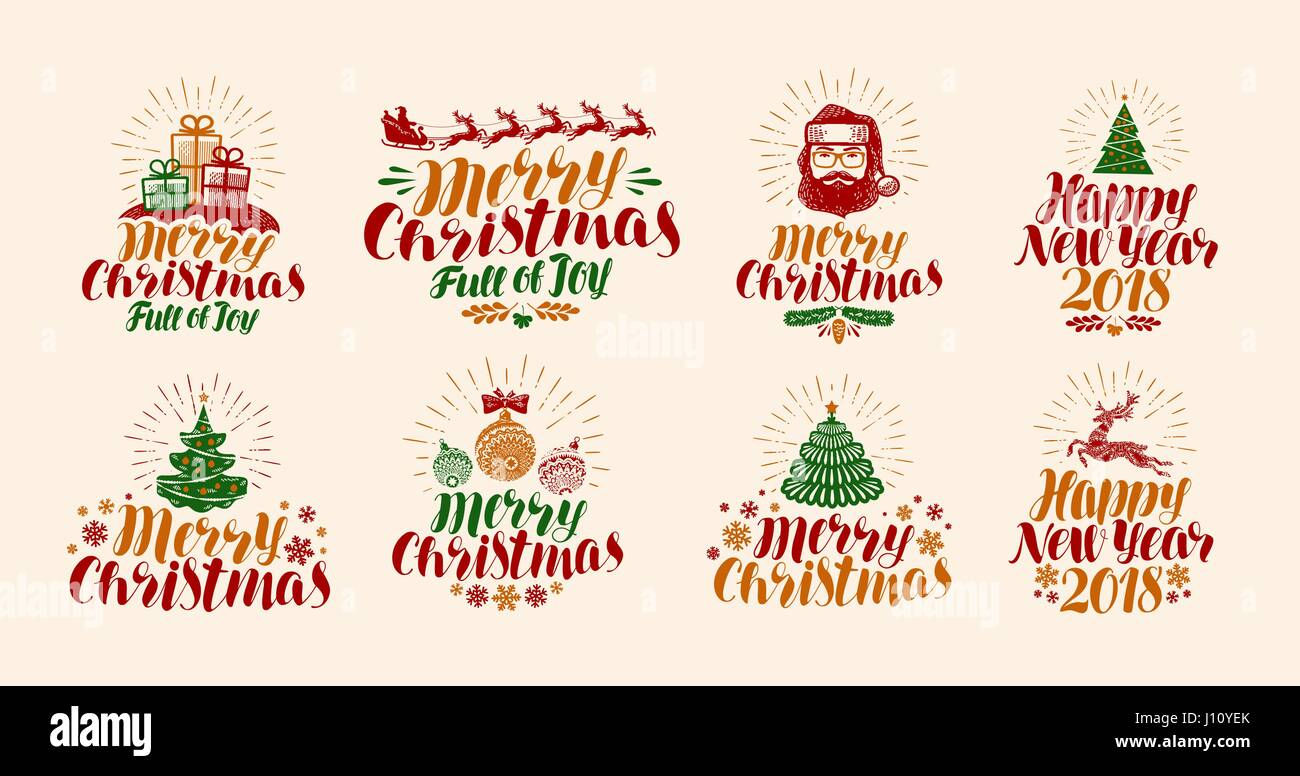 merry christmas and happy new year lettering xmas yuletide stock