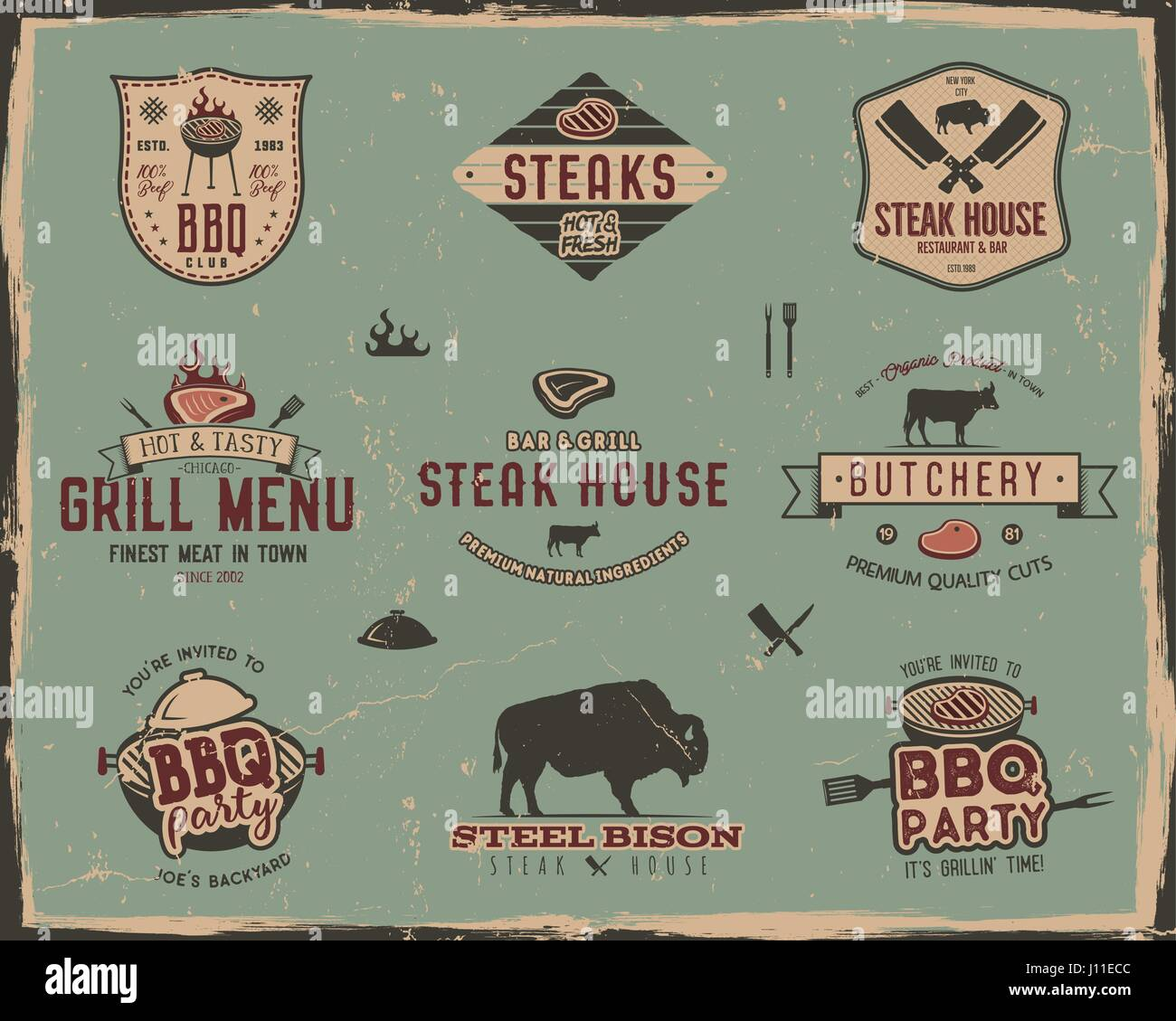Vintage Grill And Steak House Logo Templates. Retro Colors Bbq, Grill Party  Badges, Stamps And Labels Set. Symbols Of Grilled Meat, Tools.