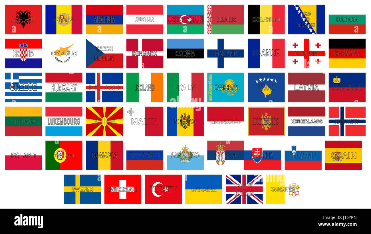 illustration of all the flags of europe with the countries names