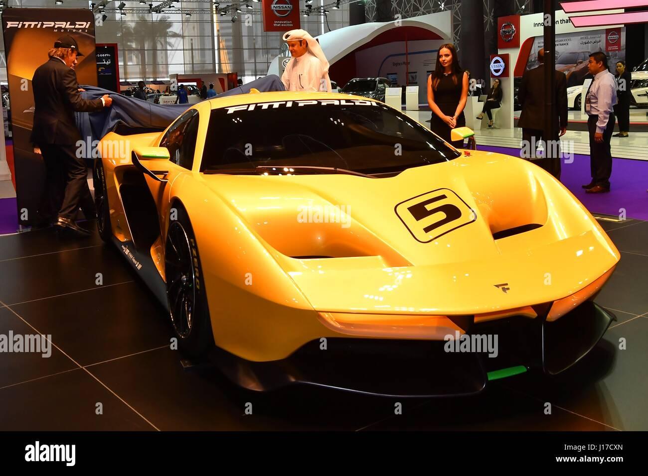 Doha, Capital of Qatar. 18th Apr, 2017. A Pininfarina SpA Fittipaldi EF7 Vision Gran Turismo racing automobile is - Stock Image