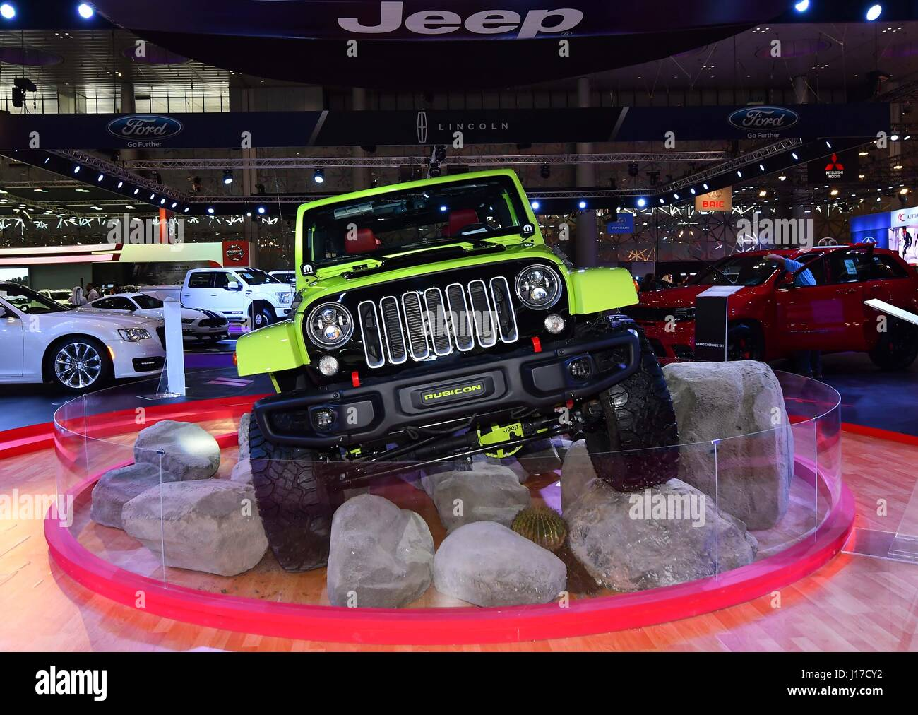 Doha, Capital of Qatar. 18th Apr, 2017. The Jeep Wrangler Rubicon is displayed during the Qatar Motor Show 2017 - Stock Image