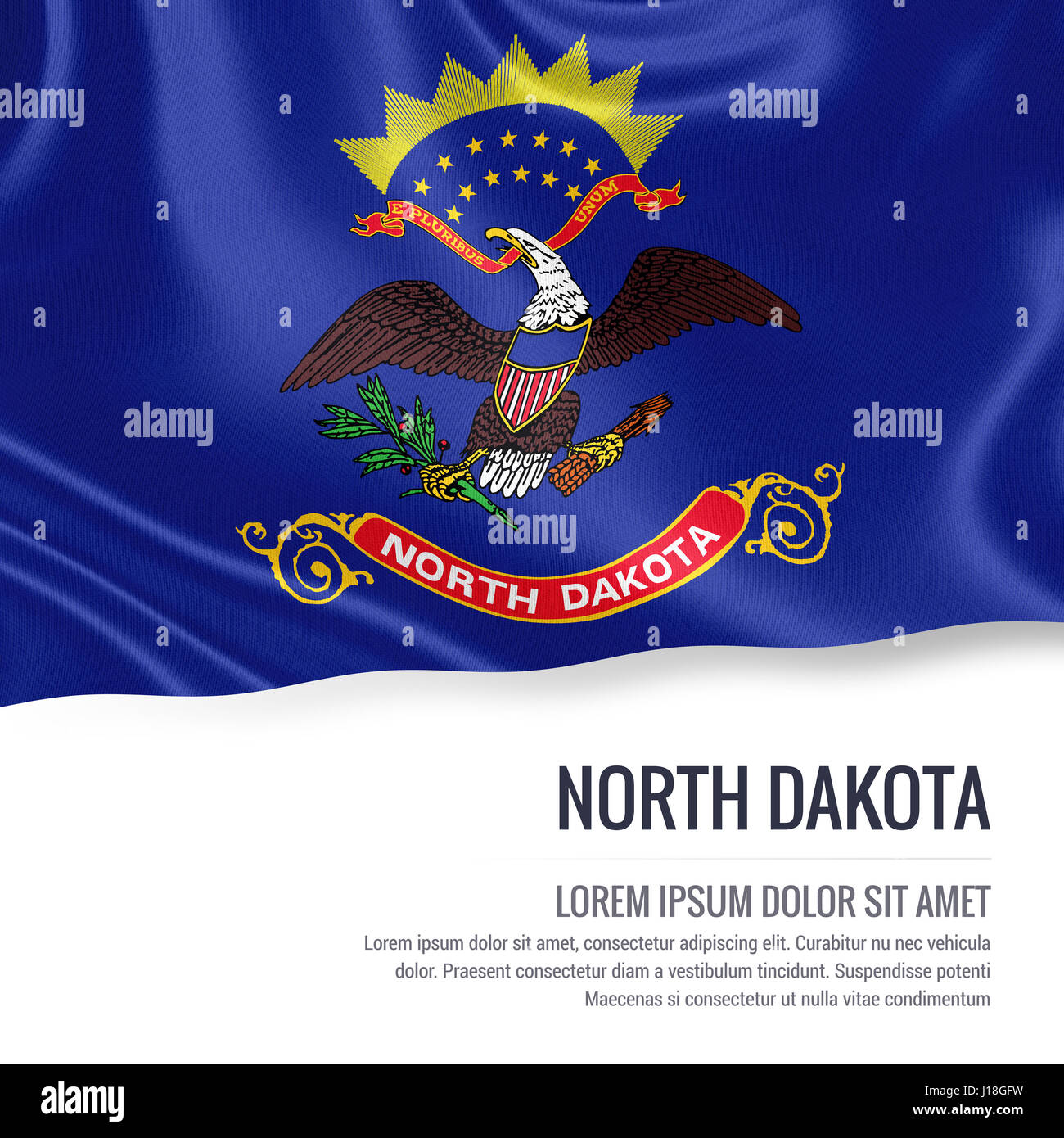 Flag Of Us State North Dakota Waving On An Isolated White Stock