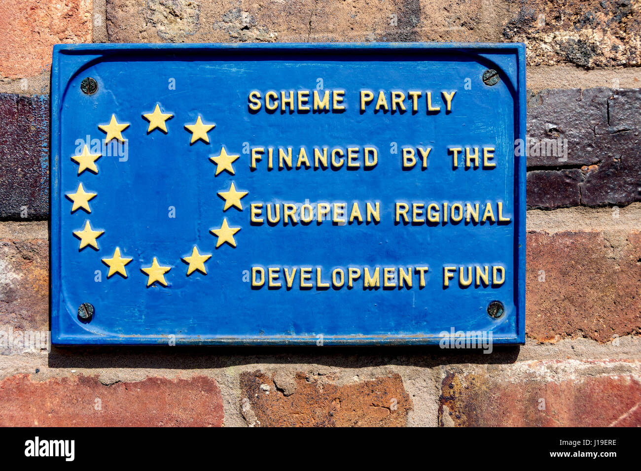 European Regional Development Fund plaque at the Blists Hill Victorian Town, near Madeley, Shropshire, England, - Stock Image