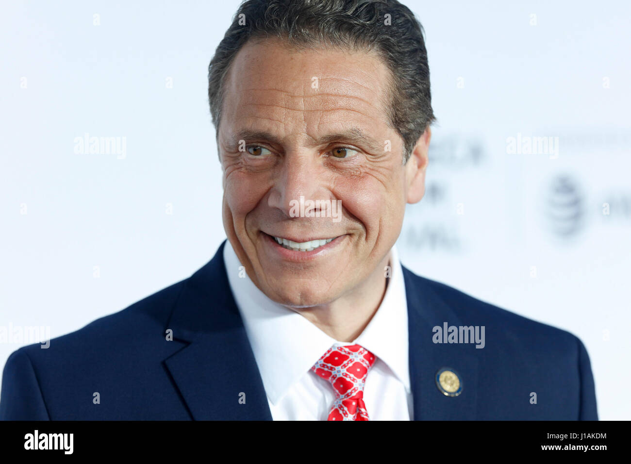 New York, USA. 19th April, 2017. Governor of New York, Andrew Cuomo arrives at the 2017 Tribeca Film Festival Opening - Stock Image