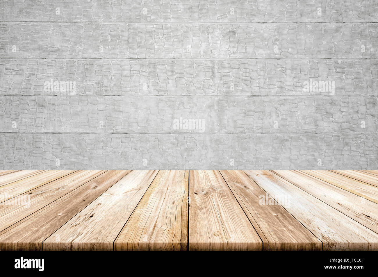 Empty Light Wood Table Top With Concrete Wall Background. Can Be Used For  Montage Products Display Or Design Key Visual Layout.