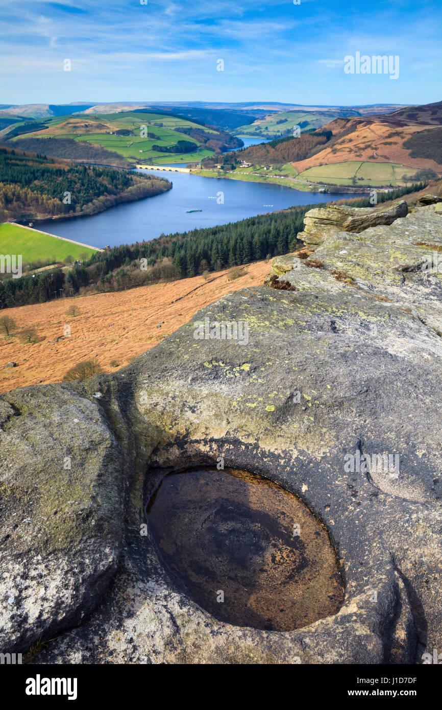 Ladybower Reservoir captured from Bamford Edge in the Peak District National Park - Stock Image