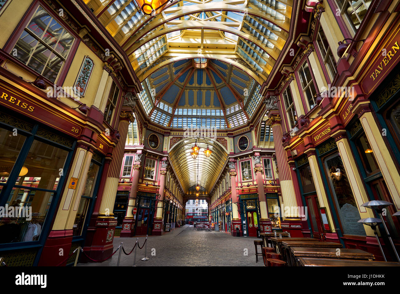 Leadenhall market in London. It is one of the oldest markets in London, dating back to the 14th century. - Stock Image
