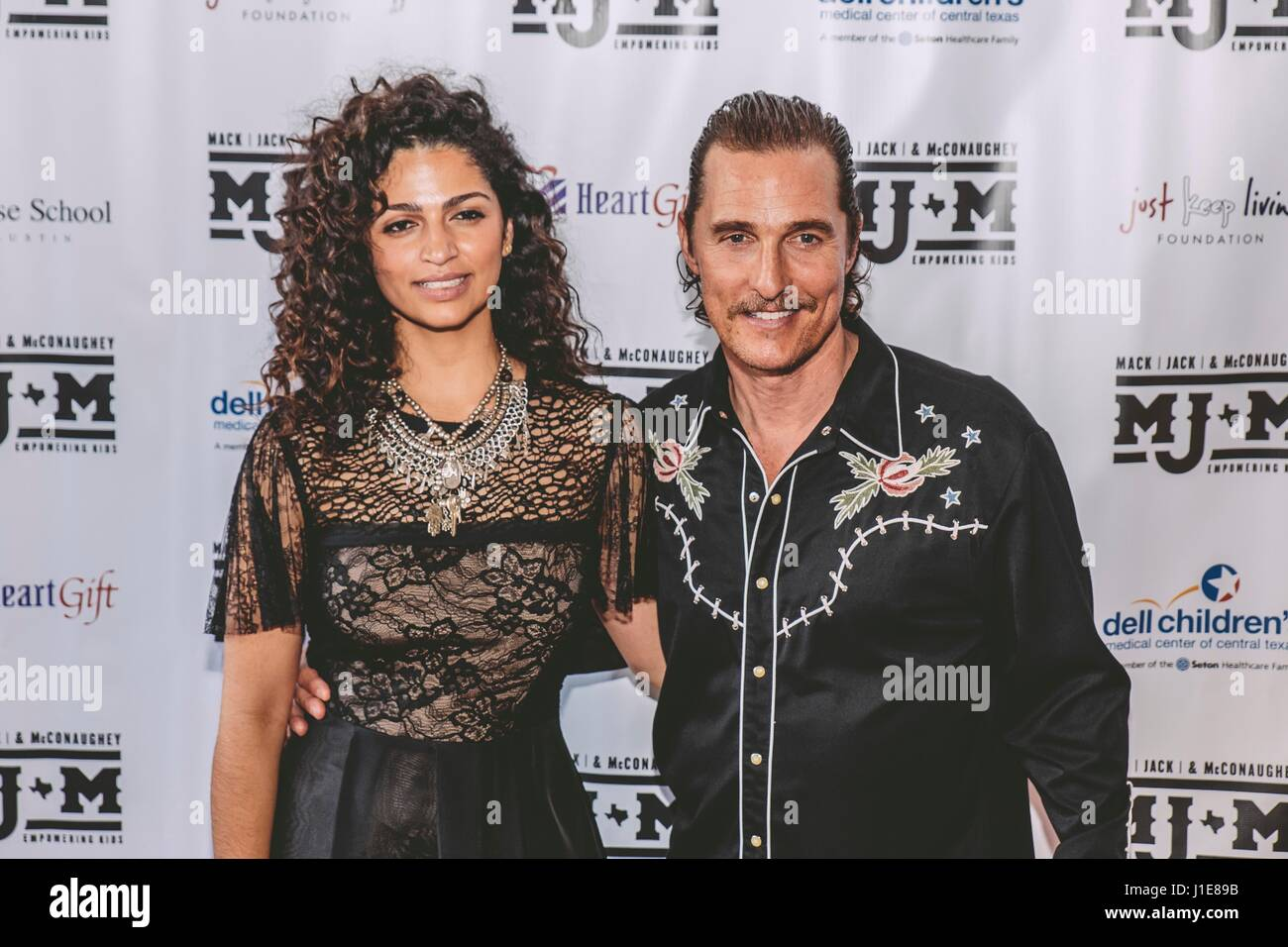 Austin, USA. 20th Apr, 2017. Camila Alves, Matthew McConaughey arrive at the 2017 Mack, Jack & McConaughey on - Stock Image