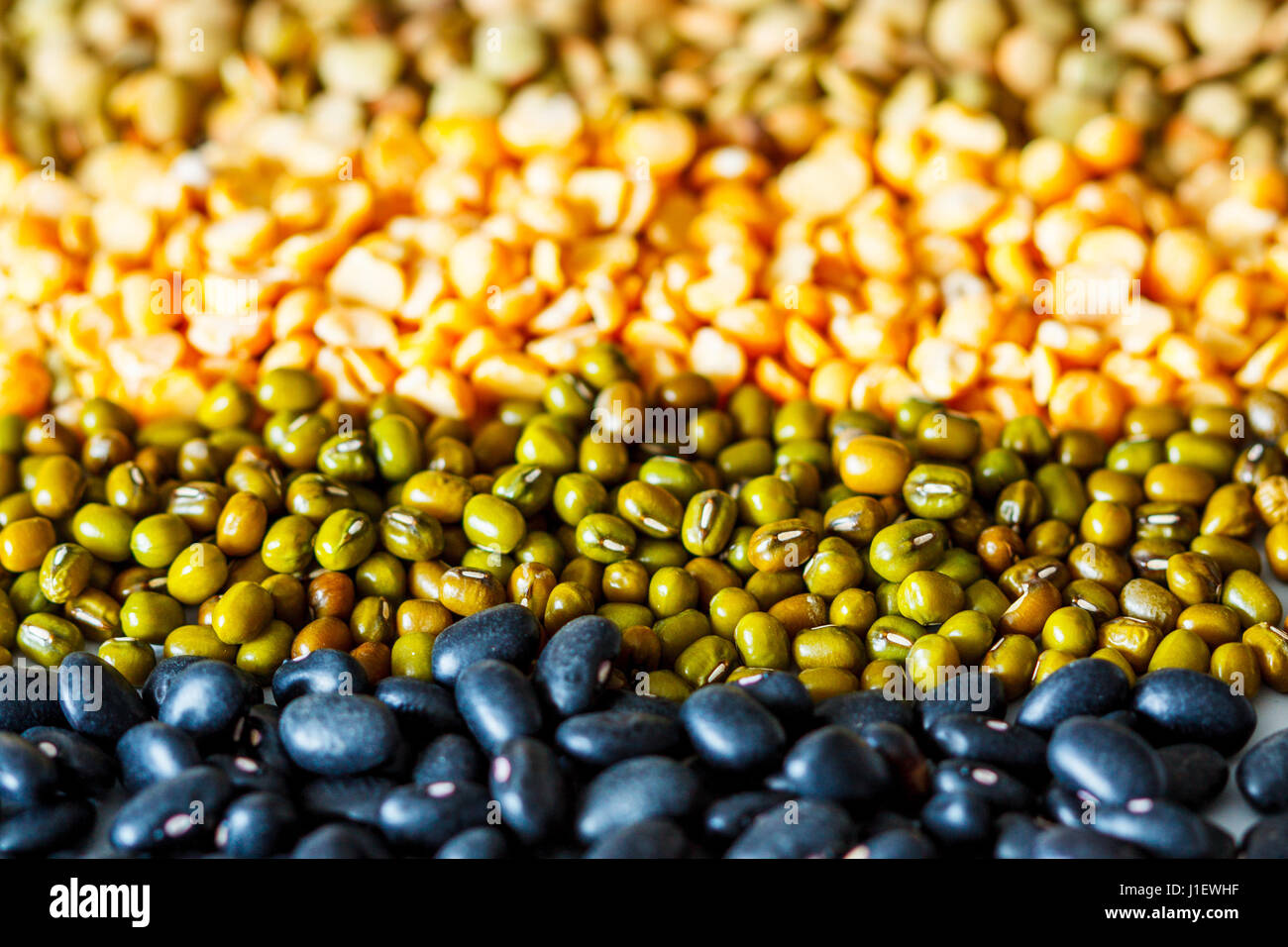 Cereals background: chickpeas, peas, lentils, black beans - Stock Image