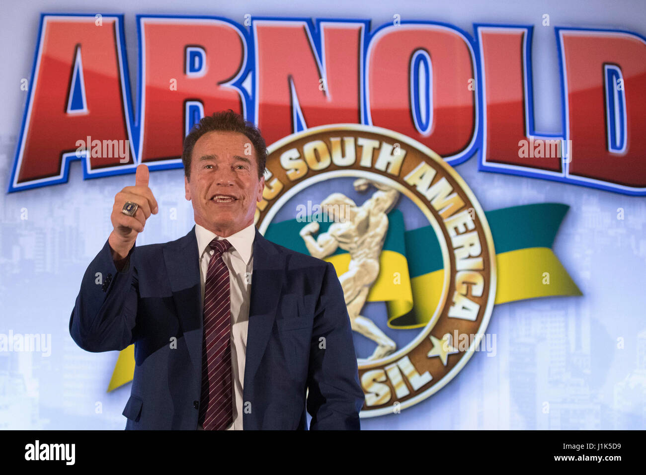 US actor and body builder Arnold Schwarzenegger smiles during a press conference to present the Brazilian edition - Stock Image