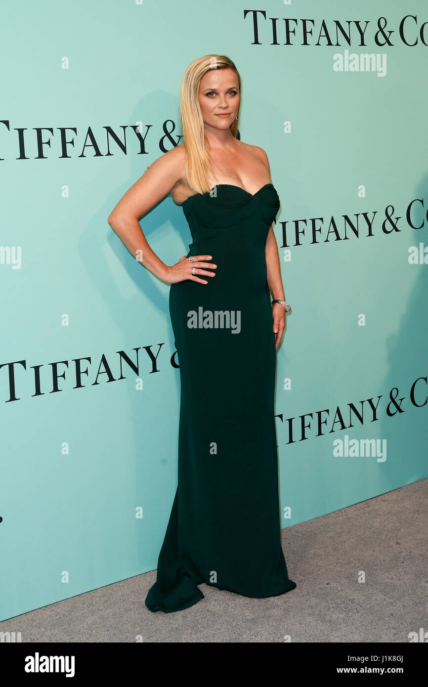 Reese Witherspoon attends the Tiffany & Co. 2017 Blue Book Gala at St. Ann's Warehouse on April 21, 2017 - Stock Image