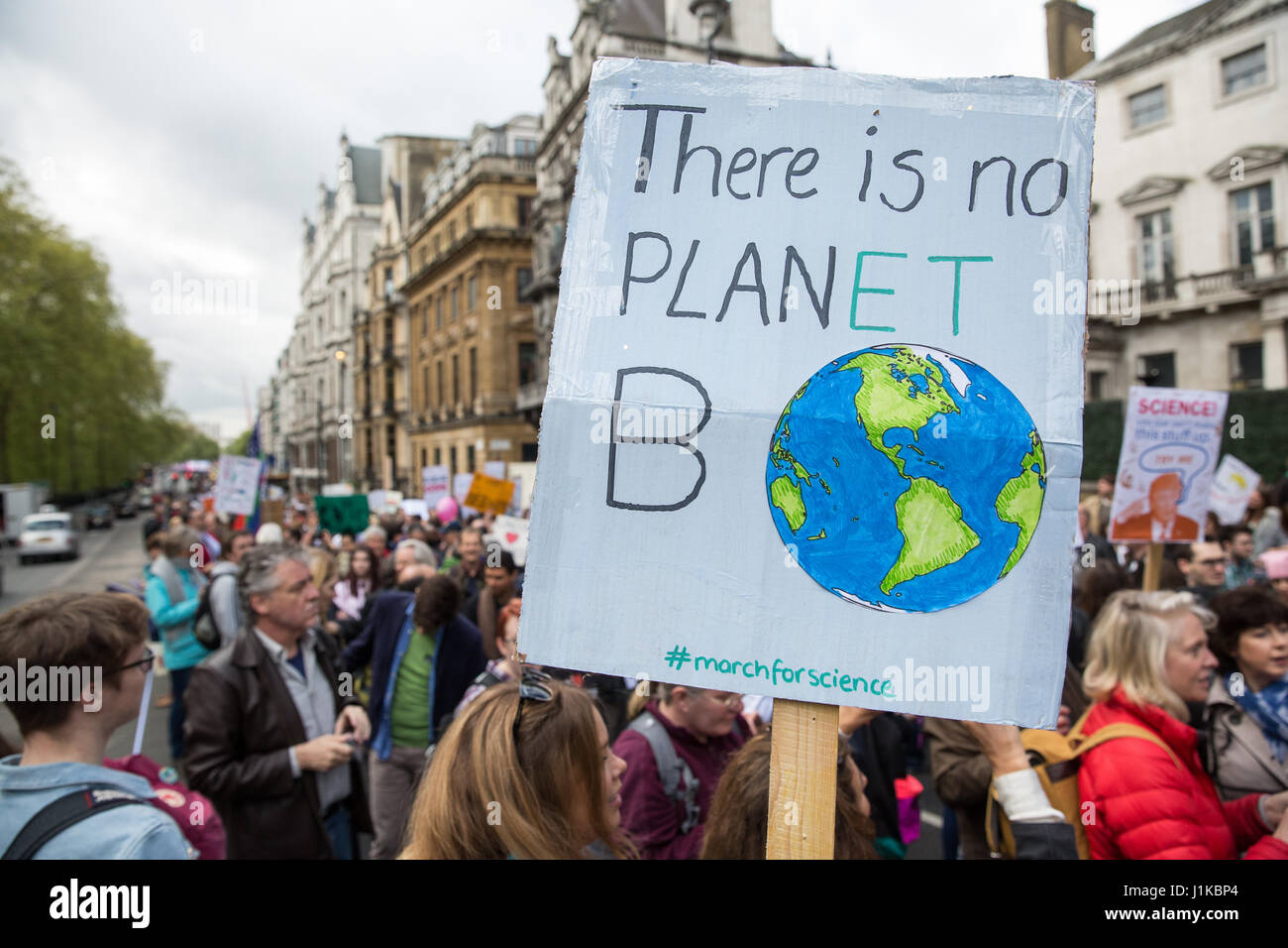 London, UK. 22nd Apr, 2017. Scientists march through central London on the 'March for Science' as part of a - Stock Image