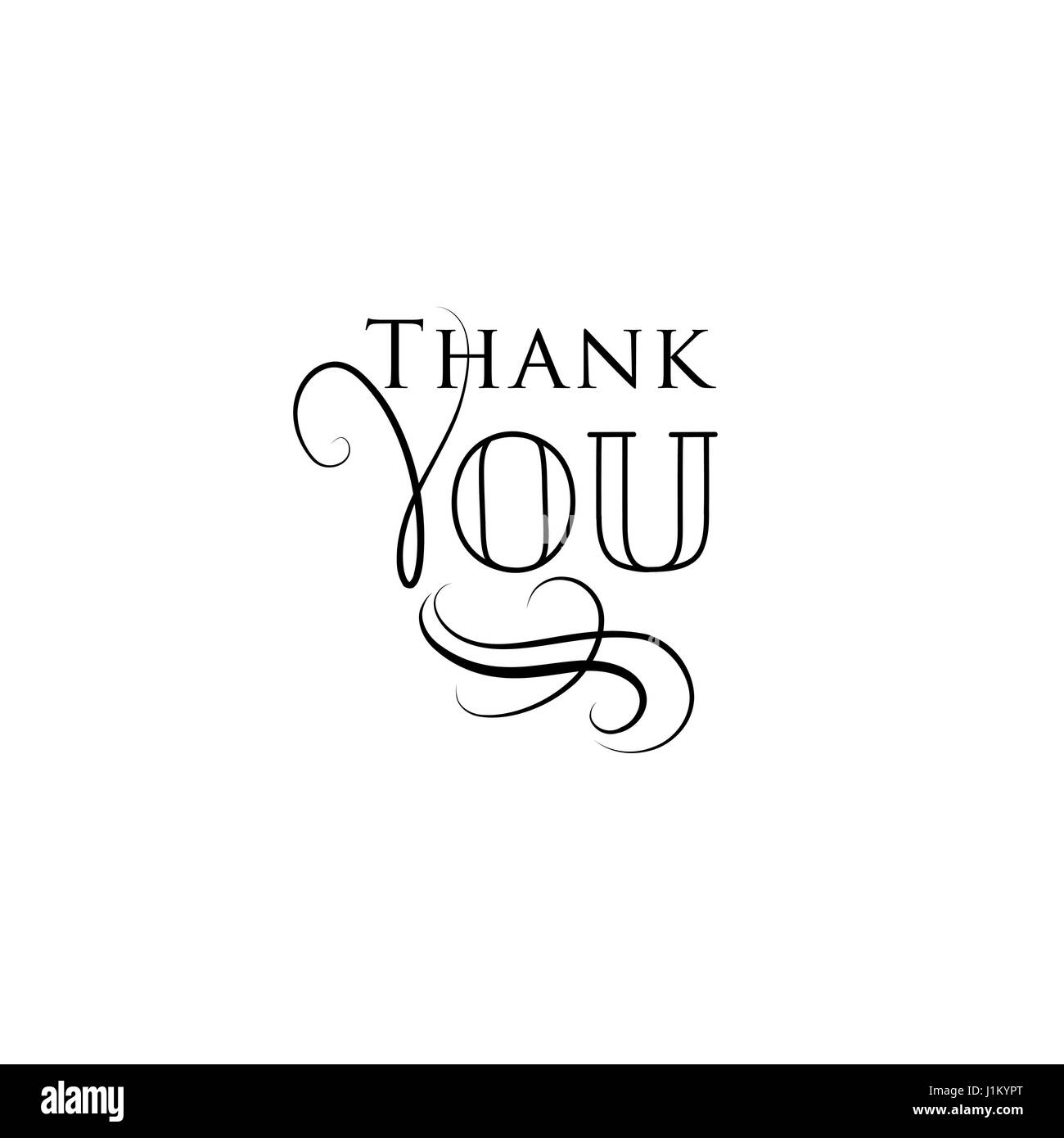 Thank You Greeting Card With Handwritten Lettering And Swirl Floral