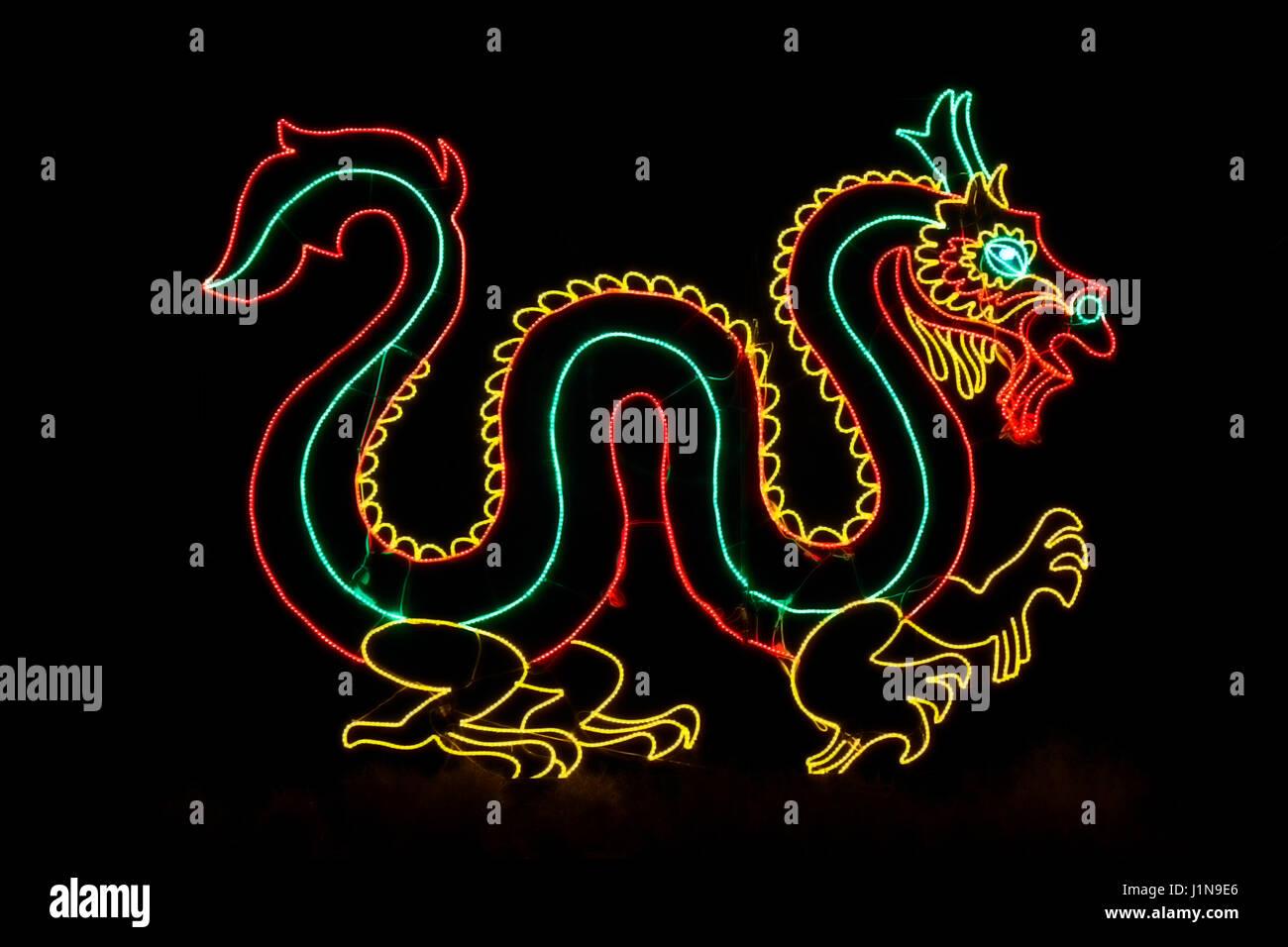 Christmas lights shaped like a dragon, Denver Zoo Lights, Denver Zoo, Denver, Colorado USA - Stock Image