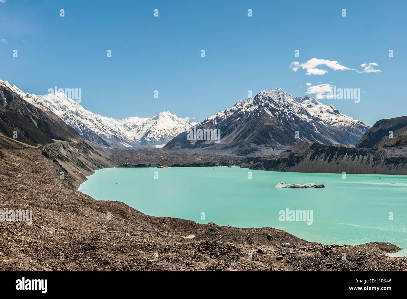 Tasman Glacier and turquoise glacier lake, Mount Tasman, Mount Cook National Park, Southern Alps, Canterbury Region, Stock Photo