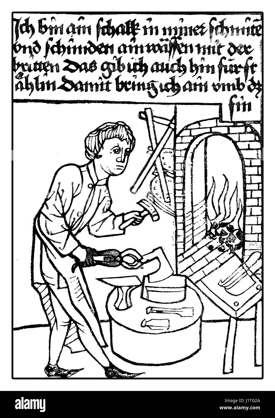 XV century: a treacherous armourer working at forge,medieval image - Stock Image