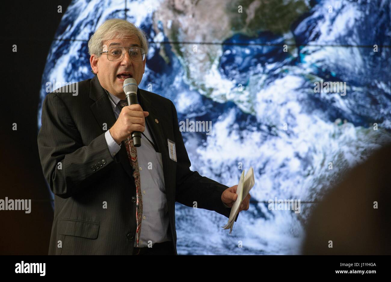 NASA Headquarters Earth Science Division Director Michael Freilich speaks at the NASA Earth Day event at Union Station - Stock Image