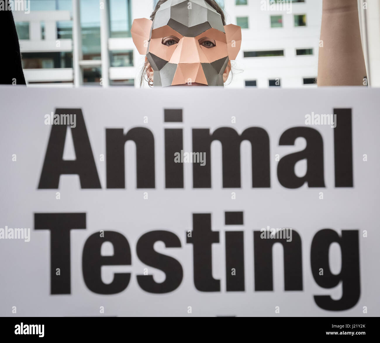 London, UK. 24th Apr, 2017. PETA monkey protest outside Home Office ...